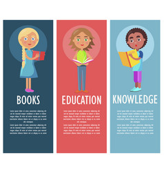 Reading book gives new knowledge and education vector