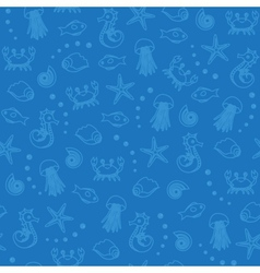 sea life seamless pattern in blue vector image