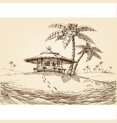 sea shore landscape beach bar and palm trees vector image