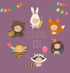 set cute kids wearing animal costumes vector image