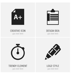 Set of 4 editable school icons includes symbols vector
