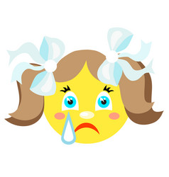 Smiley girl cries icons on a white background vector