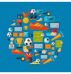 Soccer icons set shape circle vector