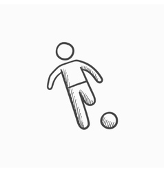 Soccer player with ball sketch icon vector image