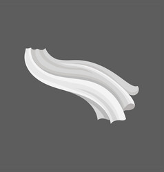 Soft silk textile long white cloth flying on the vector