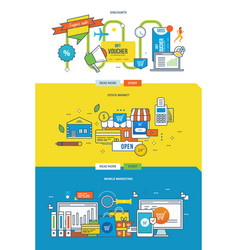 stock market discounts and mobile marketing vector image