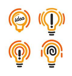 stylized lightbulbs logo set new idea and vector image