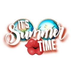 Summer lettering design with sunglasses and vector image