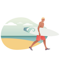 surfing time young man in swimsuit carrying a vector image