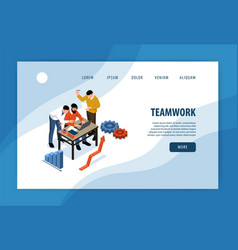 Teamwork isometric landing page vector