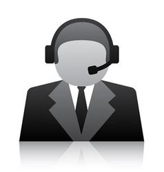 Telephone user support icon vector