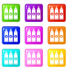 three tubes with paint icons 9 set vector image