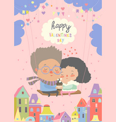 two lovers sitting on swinghappy valentines day vector image