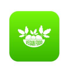 vegan food icon green vector image