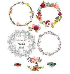 Vintage doodle floral set vector