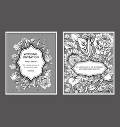Vintage floral wedding invitation cards vector