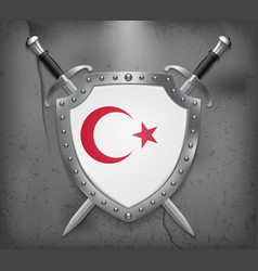 white turkish flag with red crescent and star the vector image