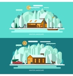 Winter landscape Flat style vector