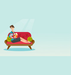 Woman reading magazine on sofa vector