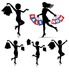 woman shopping - bags female silhouettes vector image