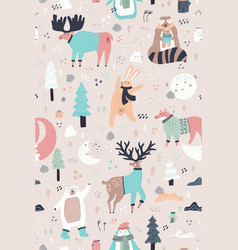 Woodland animals hand drawn color seamless pattern vector