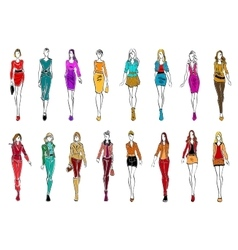 Young women in elegant clothes for everyday style vector image
