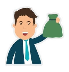 Businessman and money bag icon Money and vector image