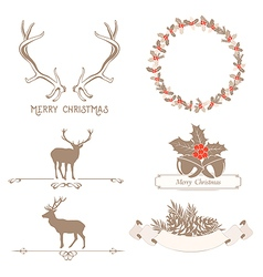 Christmas set with design elements vector image