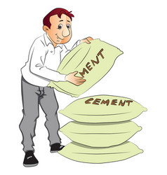 man holding cement sack vector image vector image