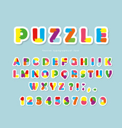 puzzle paper cut out font abc colorful creative vector image