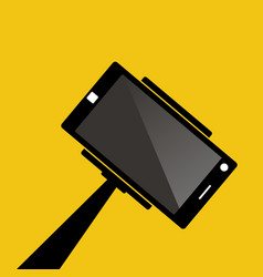 selfie stick with mobile phone flat icon on vector image