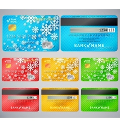 Set of realistic credit card two sides vector image vector image
