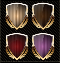 Shields with laurel wreaths vector image