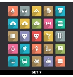 Trendy Icons With Long Shadow Set 7 vector image vector image