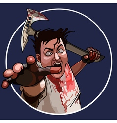 cartoon mad man with a bloodied hammer vector image
