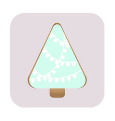 christmas card with a gingerbread christmas tree vector image