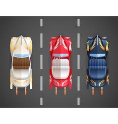 Retro Flat Cars Cabriolet Top vector image