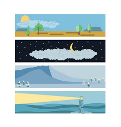 set in a flat landscape style snow-capped vector image vector image