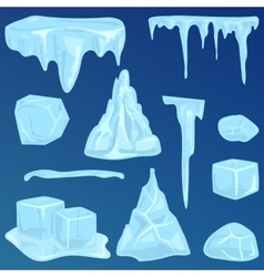 Set of ice caps snowdrifts and icicles elements vector image vector image