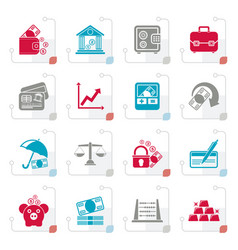 stylized business finance and bank icons vector image vector image