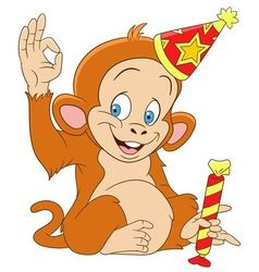 cute funny xmas monkey vector image vector image