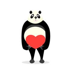 cute panda holding a heart vector image