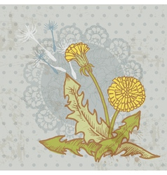 Vintage card with flowers vector image vector image