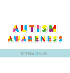 autism awareness puzzle letters paper cut out vector image vector image