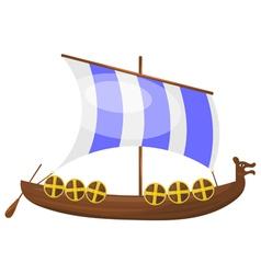 Cartoon Viking ship eps10 vector image vector image