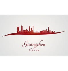 Guangzhou skyline in red vector image vector image