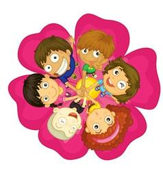 Kids on a flower vector image