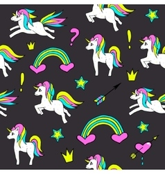 Seamless pattern with unicorns rainbow heart vector image vector image