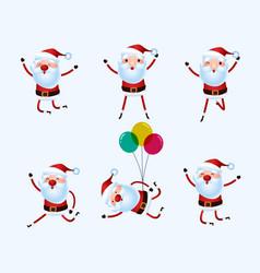 set of cute santa claus character for christmas vector image