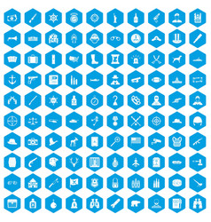 100 bullet icons set blue vector image